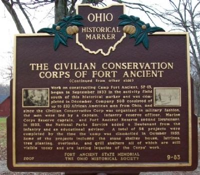 The Civilian Conservation Corps of Fort Ancient Marker (Side B) image. Click for full size.