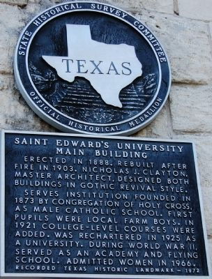 Saint Edward�s University Main Building Marker image. Click for full size.