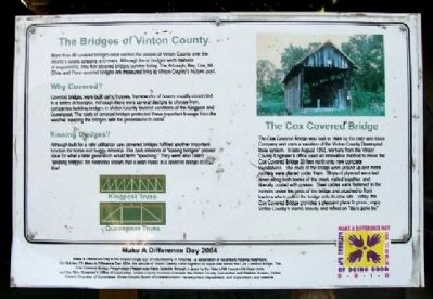The Cox Covered Bridge Marker image. Click for full size.