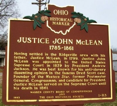 Justice John McLean Marker image. Click for full size.