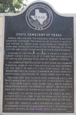 State Cemetery of Texas Marker image. Click for full size.