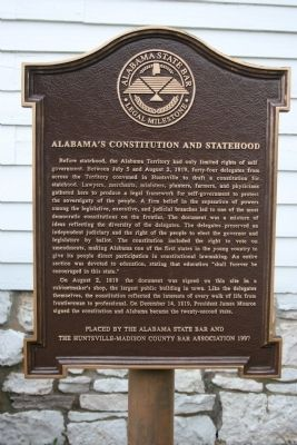 Alabama's Constitution And Statehood Marker image. Click for full size.