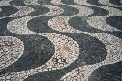 "Praça São Sebastião: inlaid pavement decorated in the ""Meeting of the Rivers"" pattern image. Click for full size."