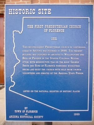 The First Presbyterian Church of Florence Marker image. Click for full size.