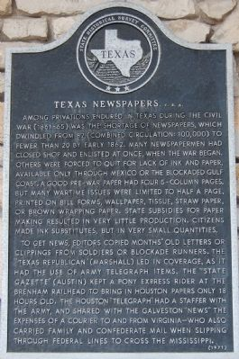 Texas Newspapers, C.S.A. Marker image. Click for full size.
