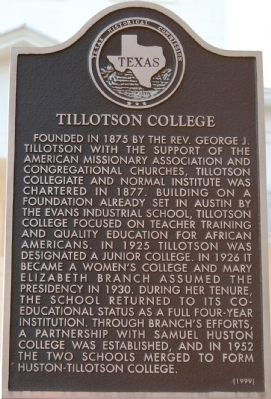 Tillotson College Marker image. Click for full size.