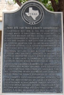 Third Site For Travis County Government Marker image. Click for full size.