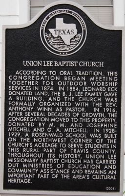 Union Lee Baptist Church Marker image. Click for full size.