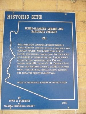 White-McCarthy Lumber and Hardware Company Marker image. Click for full size.