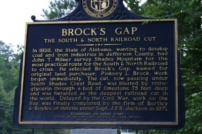 Brock's Gap / Historic Gateway To Birmingham Marker image. Click for full size.