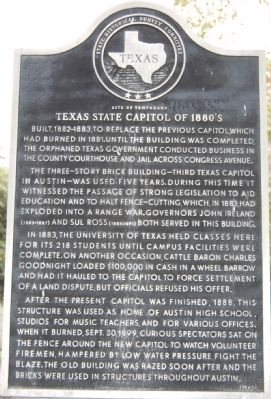 Site of Temporary Texas State Capitol of 1880's Marker image. Click for full size.