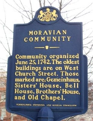 Moravian Community Marker Photo, Click for full size
