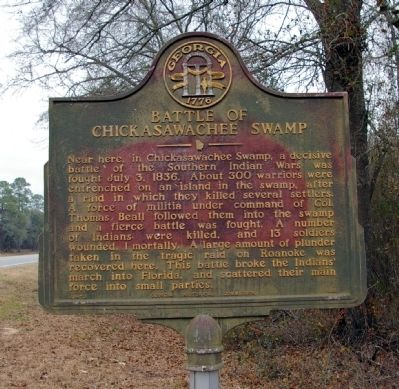 Battle of Chickasawachee Swamp Marker image. Click for full size.