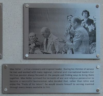 Max Heller Legacy Plaza -<br>Man of the People: Top Panel Photo, Click for full size