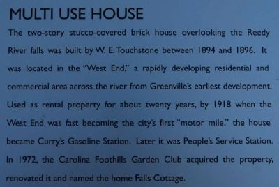 "The Touchstone House ""Falls Cottage"" Marker -<br>Multi Use House image. Click for full size."