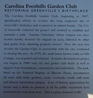 "The Touchstone House ""Falls Cottage"" Marker -<br>Carolina Foothills Garden Club image. Click for full size."