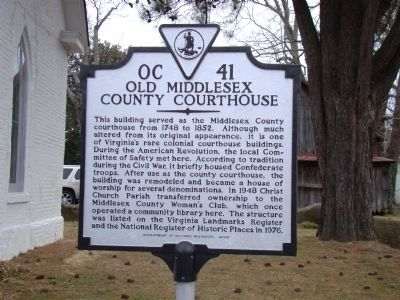Old Middlesex County Courthouse Marker image. Click for full size.