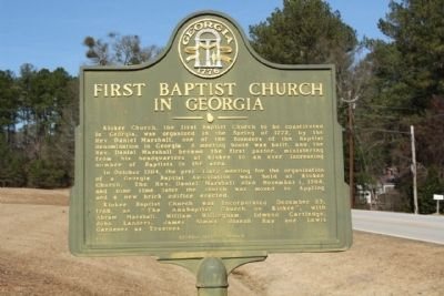 First Baptist Church in Georgia Marker image. Click for full size.