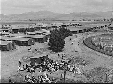Salinas, California. Japanese-Americans and their baggage arriving at reception center image. Click for full size.