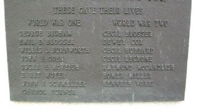 Bremen World Wars Memorial Honor Roll image. Click for full size.