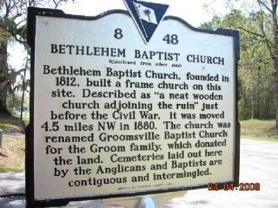Bethlehem Baptist Church Marker Photo, Click for full size