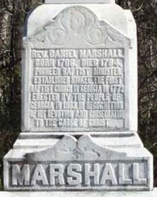 Rev. Daniel Marshall Marker image. Click for full size.