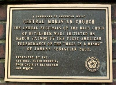 Central Moravian Church Music Marker image. Click for full size.
