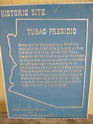 Tubac Presidio Marker Photo, Click for full size