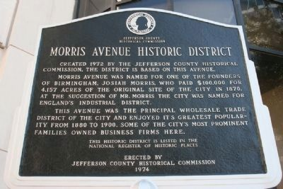 Side A:  Morris Avenue Historic District / Elyton Land Company Marker image. Click for full size.