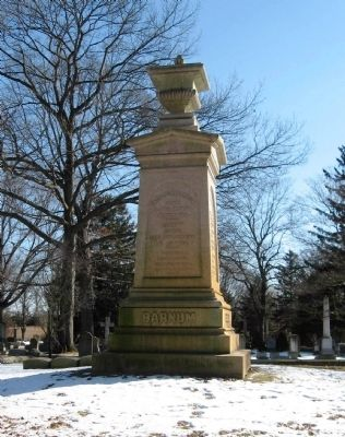Nearby Tombstone of P.T. Barnum, who made Tom Thumb Famous image. Click for full size.