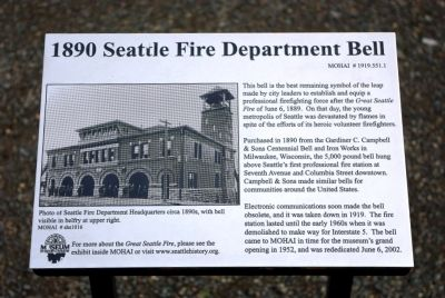 1890 Seattle Fire Department Bell Marker image. Click for full size.