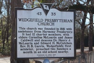 Wedgefield Presbyterian Church Marker image. Click for full size.