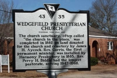 Wedgefield Presbyterian Church Marker, reverse side image. Click for full size.