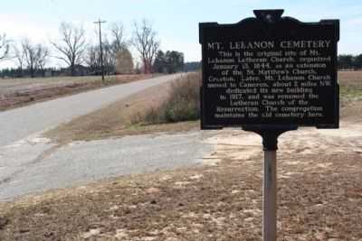 Mt. Lebanon Cemetery Marker, looking west along Mt. Lebanon Road image. Click for full size.