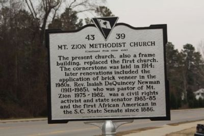 Mt. Zion Methodist Church Marker, reverse side image. Click for full size.