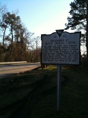 Skirmish At Black Mingo Creek Marker image. Click for full size.