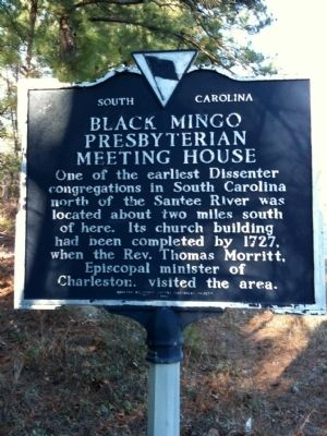 Black Mingo Presbyterian Meeting House Marker (front) image. Click for full size.