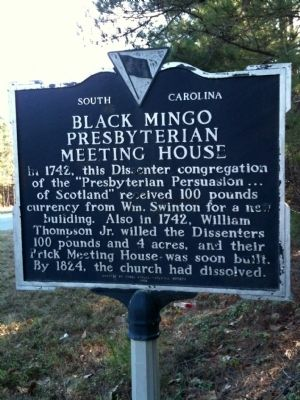 Black Mingo Presbyterian Meeting House Marker (reverse) image. Click for full size.