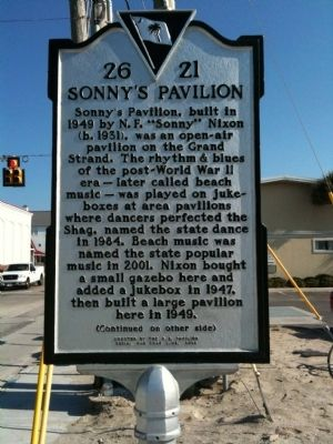 Sonny's Pavilion Marker (front) Photo, Click for full size