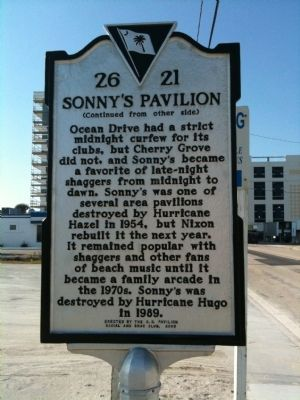 Sonny's Pavilion Marker (reverse) Photo, Click for full size