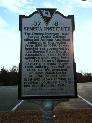 Seneca Institute / Seneca Junior College Marker (front) image. Click for full size.