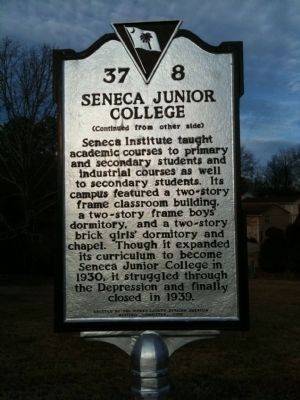 Seneca Institute / Seneca Junior College Marker (reverse) image. Click for full size.
