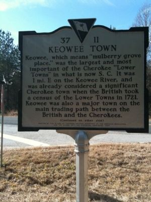 Keowee Town Marker (front) image. Click for full size.