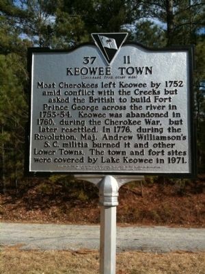 Keowee Town Marker (reverse) image. Click for full size.