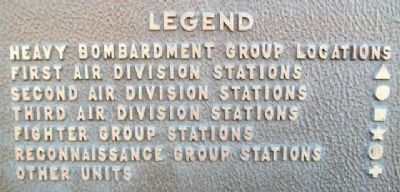 8th Air Force Bases Marker Key image. Click for full size.