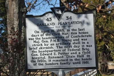 Oakland Plantation Marker, reverse side Photo, Click for full size