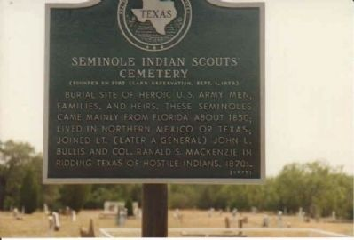 Seminole Indian Scouts' Cemetery Marker image. Click for full size.