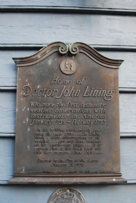 Home of Doctor John Lining Marker image. Click for full size.