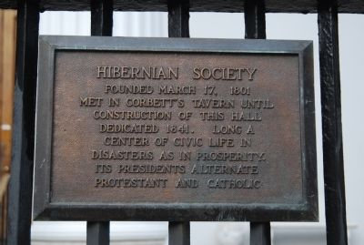 Hibernian Hall Marker image. Click for full size.