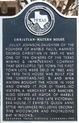Christian-Matern House Marker image. Click for full size.